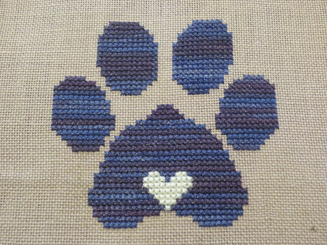 Finished Cross Stitch: Penny's Paw of Love
