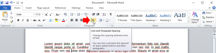 how to add line spacing in word