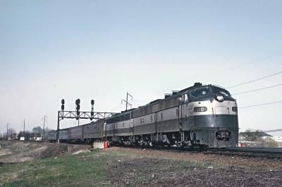 Richmond, Fredericksburg & Potomac E8A 1010 with Train33, The Silver Comet, Arriving at Alexandria VA. Union Station on April 12, 1969