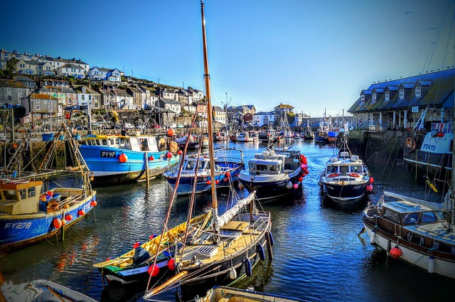 Mevagissey harbour, Cornwall. (in colour)