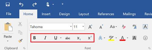 ตัวเลือกในการทำ Font Formatting