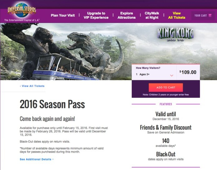 Universal Studios Hollywood introduces 2016 Season Pass with 140 days of admission