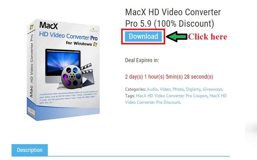 bản quyền miễn phí MacX HD Video Converter Pro 5.9 bước 2: click download