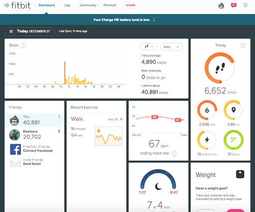 หน้า Dashboard บน Fitbit.com