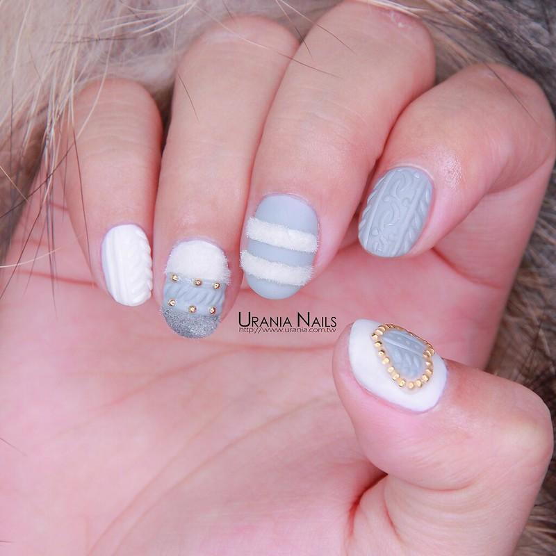 ♥ 毛絨絨的這個冬天!絨毛凝膠指甲 1