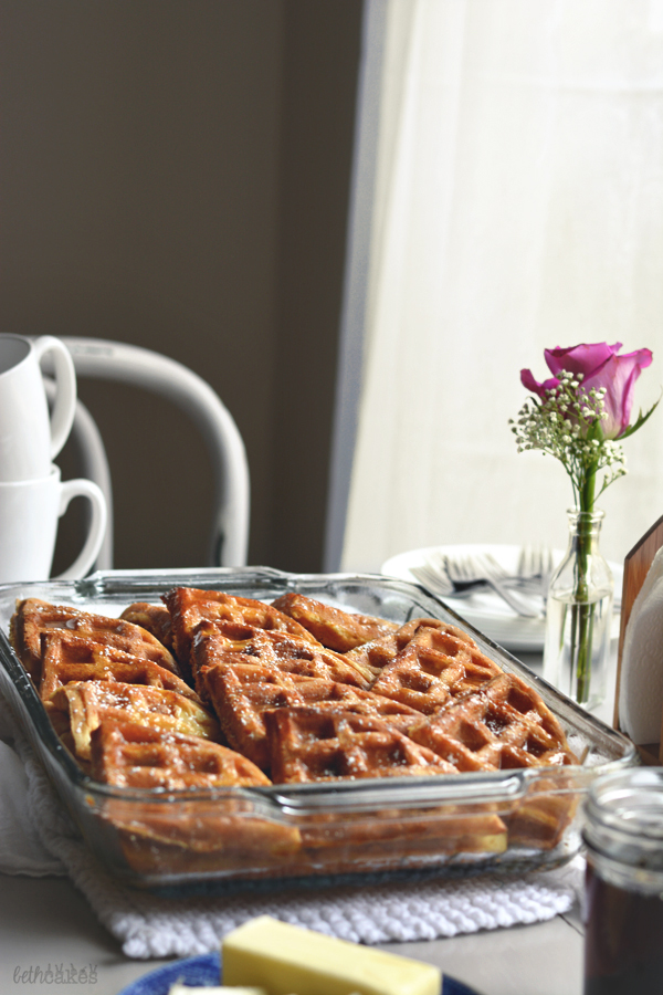 Waffle French Toast Bake with Browned Butter Maple Sauce / bethcakes.com
