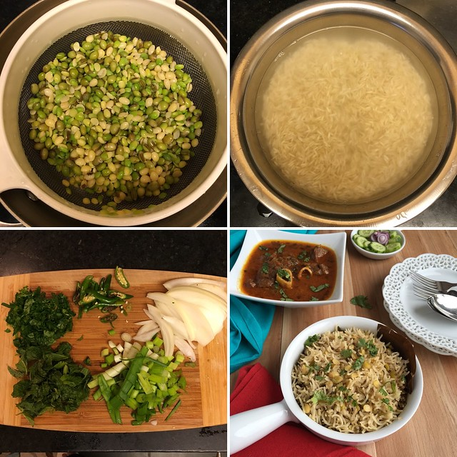 Collage of Ingredients for Hyacinth Beans Rice