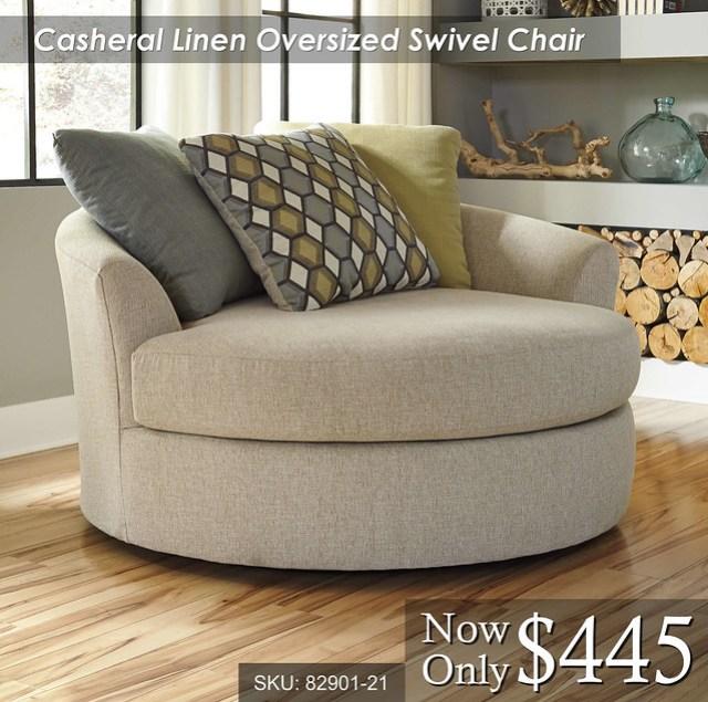 Casheral Linen Oversized Swivel Chair