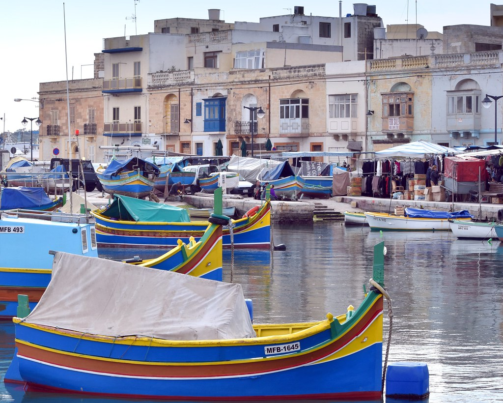 Fishing boats, Sunday market, Marsaxlokk
