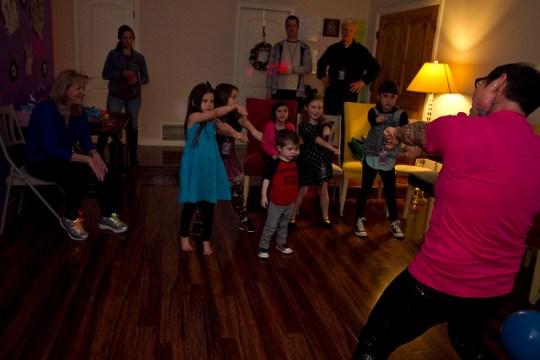 DJ Bee teaching dance steps