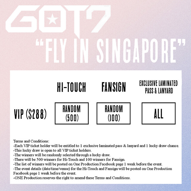 GOT7 1st Concert 'Fly in Singapore' VIP Package