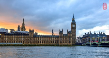 Westminster at dusk.