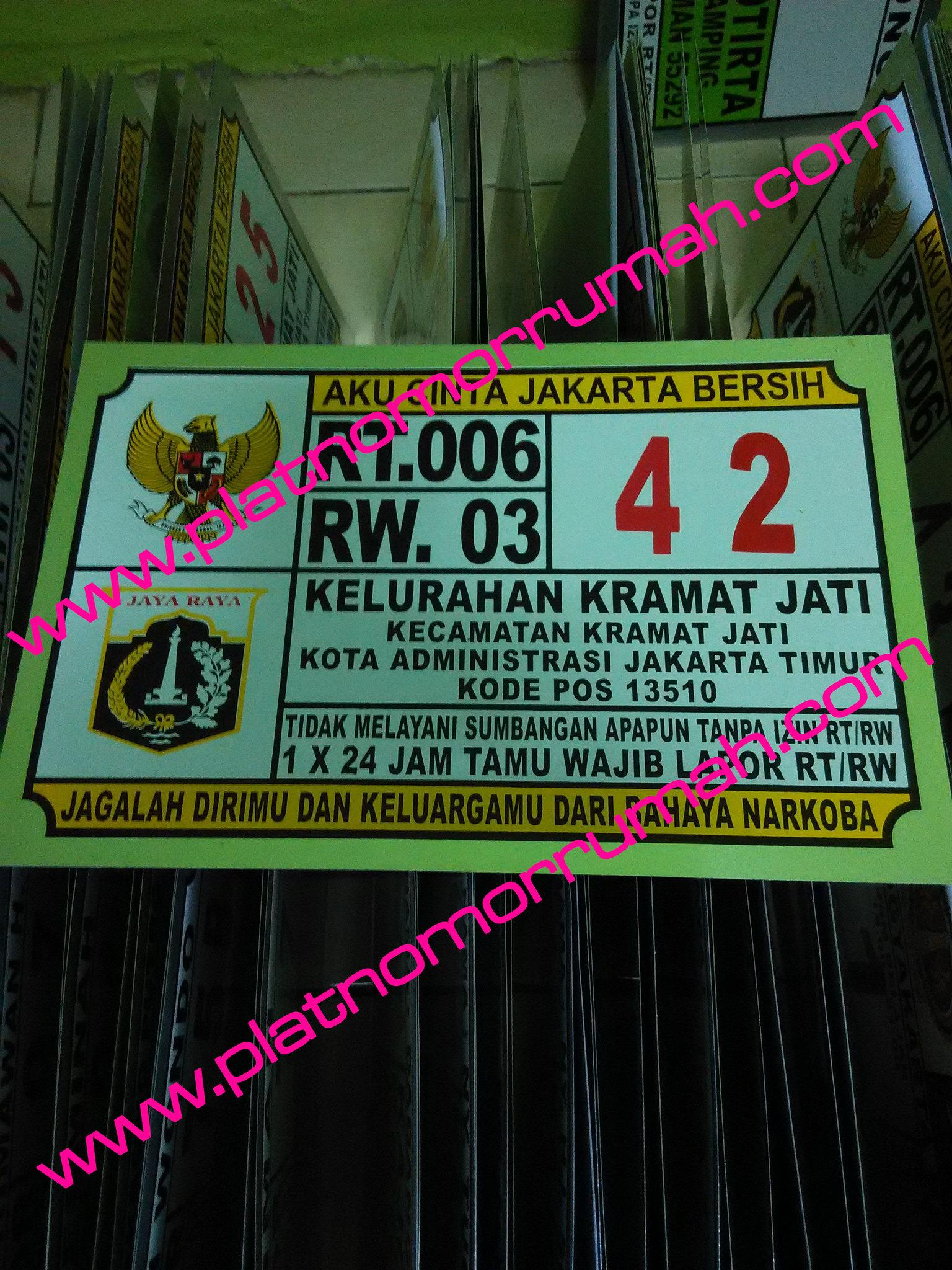 Plat Nomor Rumah Jakarta Kramat Jati