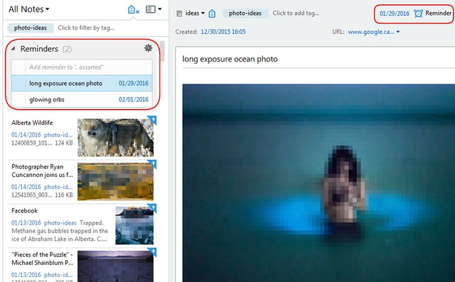 inspired photography with evernote - setting reminders