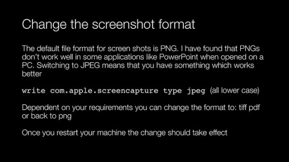 Change the screenshot format