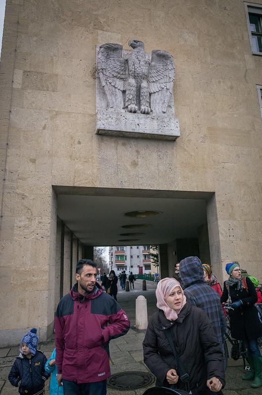 Nazi eagle, Arab immigrants. Tempelhof, March 2016.