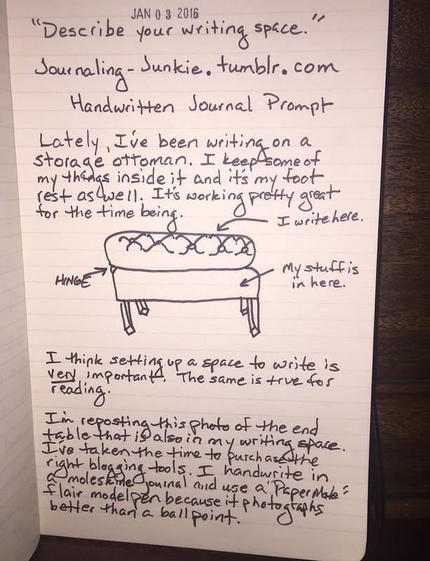 My Writing Space Described in a Handwritten Journal