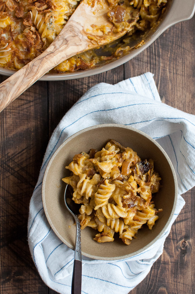 Healthier caramelized onion mac and cheese, with cheese sauce based on pre-made butternut squash soup