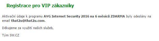 bản quyền miễn phí AVG Internet Security 2016 bước 3: thông báo đã đăng kí thành công
