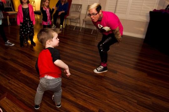 James and DJ Bee dancing
