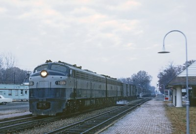 RF&P 1008 with Train 34, The Silver Coment, stopping at Ashland, VA on November 28, 1968