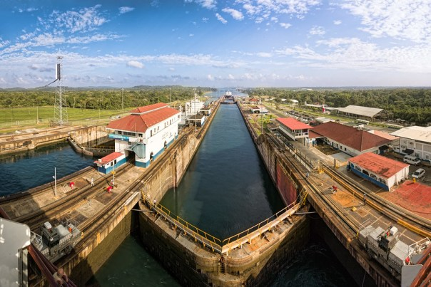In the Panama Canal Gatun Locks