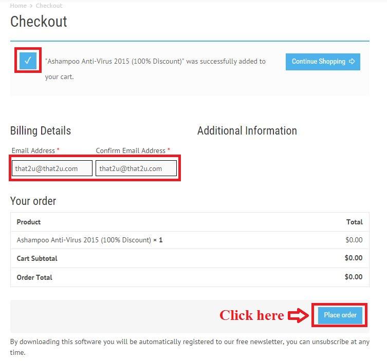 Bản quyền miễn phí Ashampoo Anti-Virus 2015  bước 3: nhập email