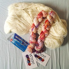 My @wolmetverve surprise yarn has arrived! A hand dyed pure merino and un-dyed 75% wool 25% nylon. These will make some wonderful socks and I can't wait to cast them on. They'll be my first self knitted socks. #yarnlove #yarnygoodness #yarn #craft #wolmet