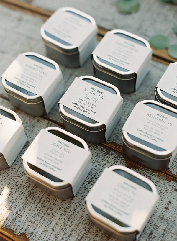 Coffee Bean wedding favors for A Midsummer Night's Dream wedding Inspired + blue and aqua wedding colour theme