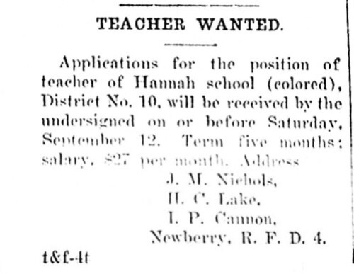Hannah School Teacher Ad
