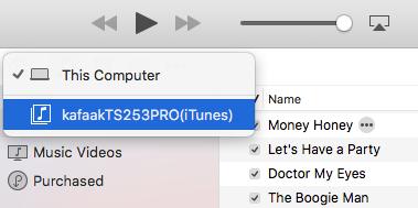 เลือก iTunes Server ที่เราสร้างไว้จากใน iTunes