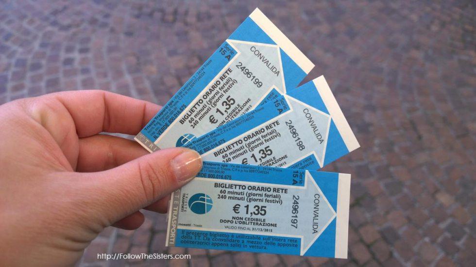 Public transport ticket, Trieste