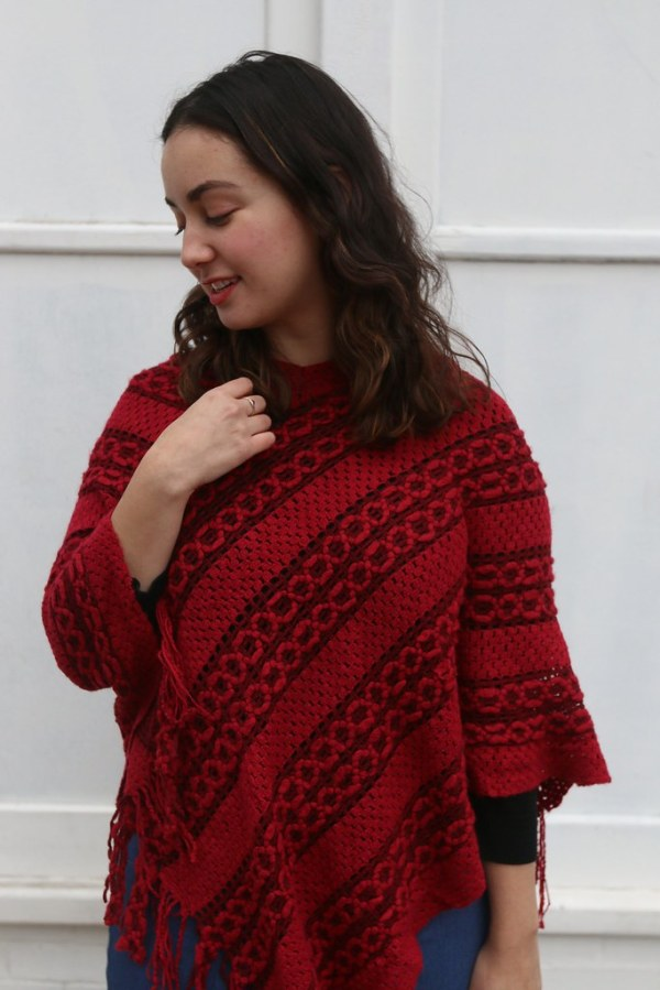 Red Knit Poncho | Shades of Sarah