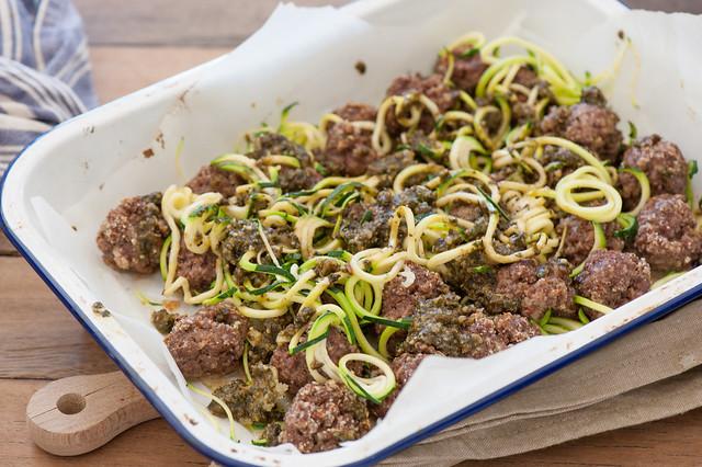 Green Spaghetti & Meatballs
