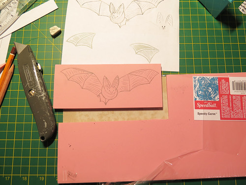 Rubber Stamp Bat Print