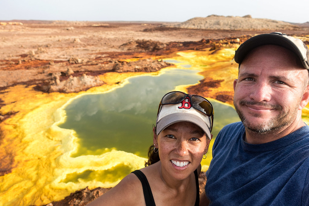Us at Dallol volcanic crater, Ethiopia.