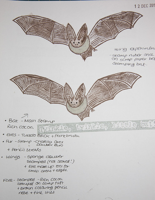 Bat Rubber Stamp Print