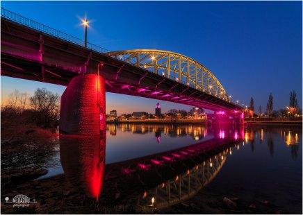 Arnhem John Frostbrug en Eusebius in roze kleuren