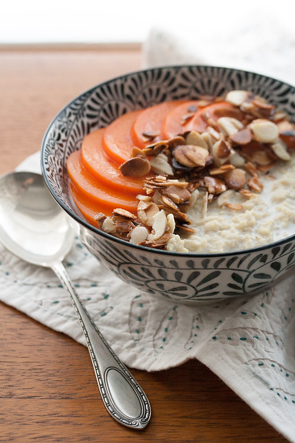 Millet Porridge with Persimmons and Toasted Almonds