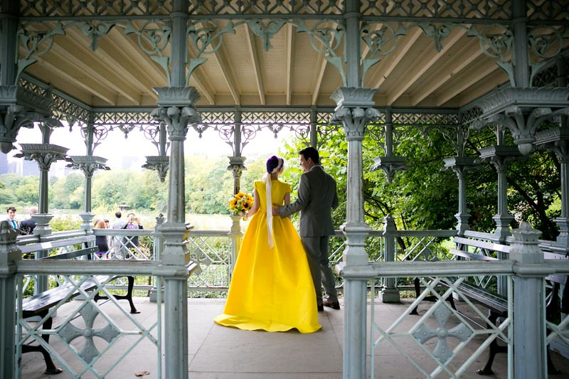 Park wedding with a yellow dress as seen on @offbeatbride #weddings #yellowdress
