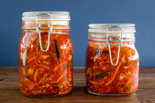 two jars of homemade kimchi
