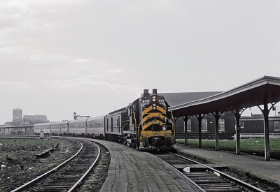 NKP RS36 875 at Englewood Union Station, Chicago, IL  Train 5, The City of Chicago, on April 21, 1965 01