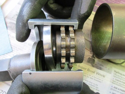 Crankshaft Nose Bearing and Sprocket in Cycle Works Removal Tool