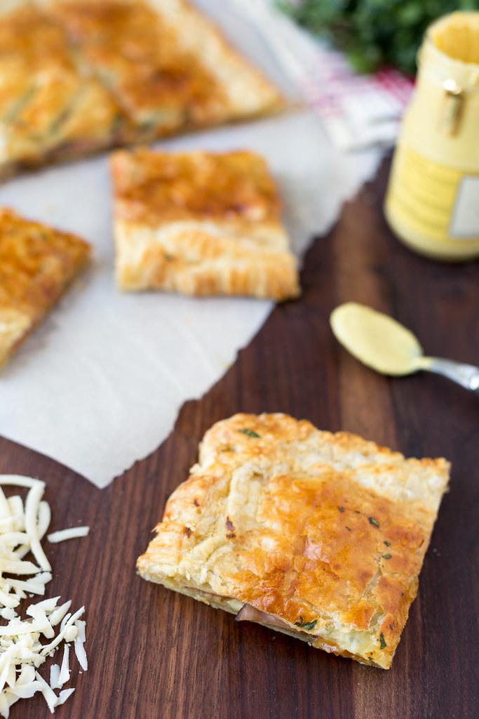 slice of ham and swiss slab pie