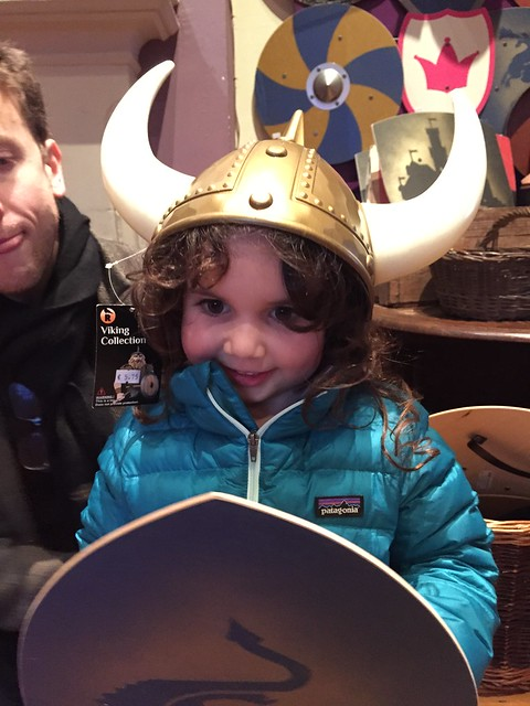 Dublin attractions for families: my daughter with a Viking Helmet