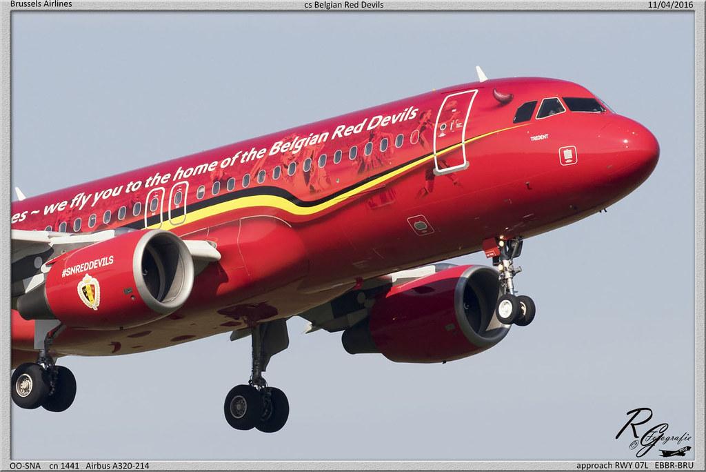 OO-SNA cn 1441 Airbus A320-214 Brussels Airlines cs Belgian Red Devils approach RWY 07L EBBR-BRU 11-04-2016