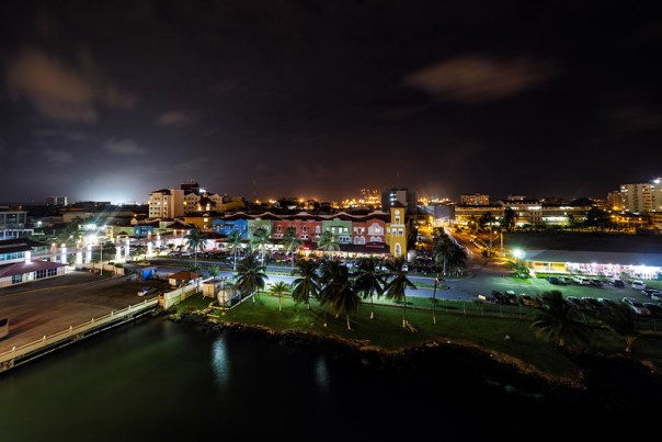 Colon Harbor at night