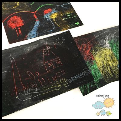 Pintar con ceras blandas, manualidades fáciles para niños