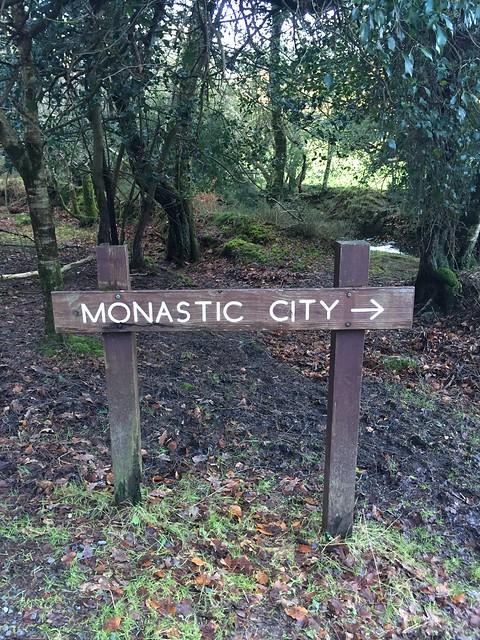 Sign indicating Glendalough monastic city