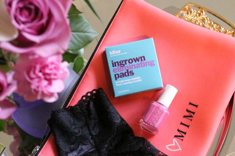 mimi bag, bliss spa ingrown eliminating pads, essie polish, lace underwear